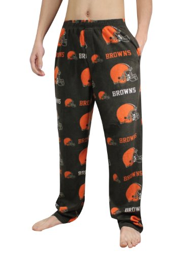 NFL Cleveland Browns Mens Polar Fleece Sleepwear / Pajama Pants M Black at Amazon.com
