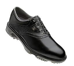 FootJoy Mens DryJoys Tour Saddle Golf Shoes Black/Black Lizard 9 1/2