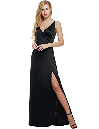 ANGVNS Women Strap Sleeveless Split Side Evening Dress Long Evening Gown, Size Large, Black