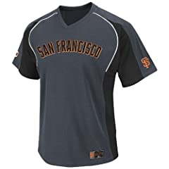 MLB San Francisco Giants Cleanup Hitter V-Neck Top, Granite Black White by Majestic