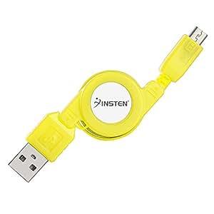 Insten Micro USB Retractable Cable , Yellow