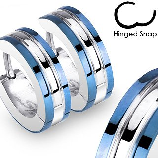 Pair of 316L Surgical Stainless Steel 2 Tone Hoop Earring with Blue IP Edges; Comes With Free Gift Box