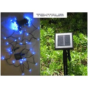 Click to read our review of Outdoor Christmas Lights: TEKTRUM 82 FT-LONG 150 BLUE LED TWO-IN-ONE SOLAR STRING FAIRY LIGHTS OUTDOOR