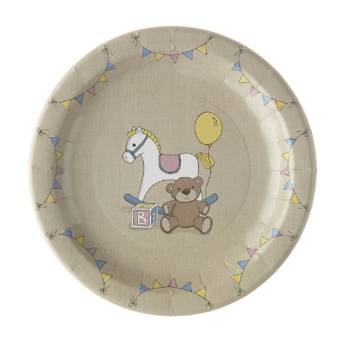 Ginger Ray Rock Rocking Horse & Teddy Vintage Paper Plates (8 Pack), Mixed