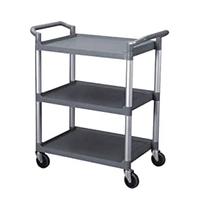 Excellante 33-1/2-Inch by 16-1/8-Inch by 37-Inch, 3-Tier Bus Cart, Grey