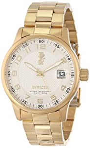Invicta Men's 15261 I-Force Silver Textured Dial 18k Gold Ion-Plated Stainless Steel Watch