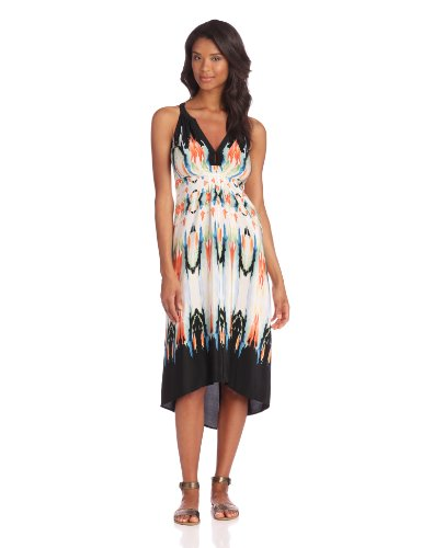 Twelfth Street by Cynthia Vincent Women's Palma Hi-Lo Maxi Dress, Watercolor Border, 4