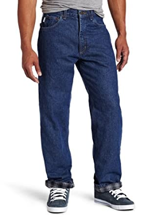 Carhartt Men's  Relaxed Fit Straight Leg Flannel Lined, DarkStone, 28 x 32