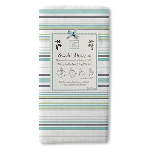 SwaddleDesigns Marquisette Swaddling Blanket, Jewel Tone Stripes, Turquoise (Discontinued by Manufacturer) - 1