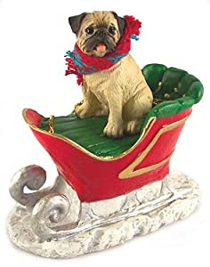 #!Cheap Fawn Chinese Pug Dog in Sleigh Christmas Ornament New