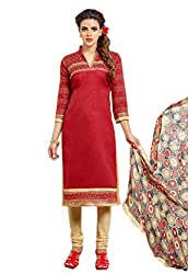 Madhavi Fashion red embroidered cotton dress material