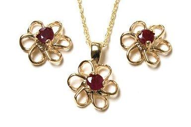 9ct Gold Ruby Daisy Pendant and Earring set.