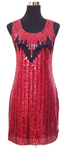 JustinCostume Women's Snazzy Sequins Sleeveless Slim Beaded Dress