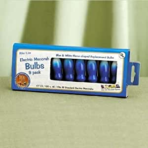 """9 Pack 3"""" Electric Menorah Blue & White Flame Shaped Replacement Bulbs #B-10/B"""