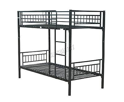 FoxHunter 3FT Single Metal Frame Bunk Bed Children Kids Twin Sleeper No Mattress Bedroom Furniture Black MBB03