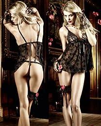 Baci Lingerie 1115 バラの刺繍の入ったセクシーなベビードール