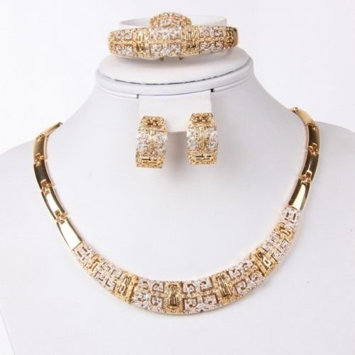 Fashion Jewelry Set Women 18k Gold Plated Necklace Bracelet Earrings Gift Set by Preciastore image