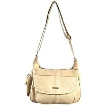 Ladies Leather Shoulder Bag / Handbag with Mobile Phone Pocket. ( Beige )