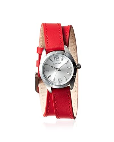 Ellen Tracy Women's ETS011SLRD Red & Grey Stainless Steel Watch