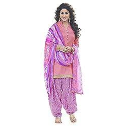 Look N Buy Appealing Pink & Purple Coloured Printed Dress Material