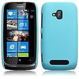 Nokia Lumia 610 Hybrid Rubberised Back Cover Case / Shell / Shield - Solid Blue
