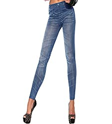 isweven Girls Slim Fit Jeggings(j24 Blue Free Size)
