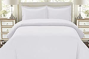 Hotel Luxury 3pc Duvet Cover Set-ON SALE TODAY-1500 Thread Count Egyptian Quality Ultra Silky Soft Top Quality Premium Bedding Collection, 100% Money Back Guarantee -Queen Size White