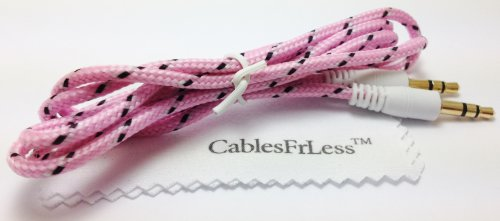 Cablesfrless (Tm) 3Ft / 6Ft / 10Ft Long 3.5Mm Auxiliary (Aux) Audio Jack Cable (Braided Style) (3Ft Pink)