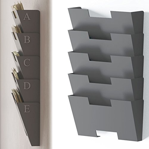 gray wall mount steel vertical file organizer holder rack 5 sectional modular design wider than letter size 13 inch organize display magazines