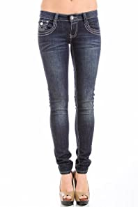 Way Jeans Embroidered Pocket Jeans in Dark Denim
