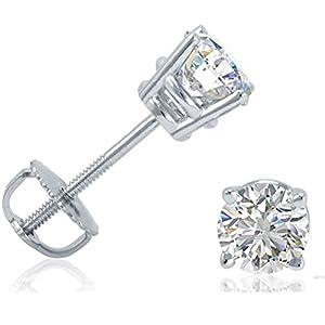 IGI Certified 14K White Gold Round Diamond Stud Earrings with Screw-Backs (3/4cttw)