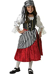 InCharacter Costumes Girls 7-16 Pirate Mid-Length Dress Costume Black/Red, 10