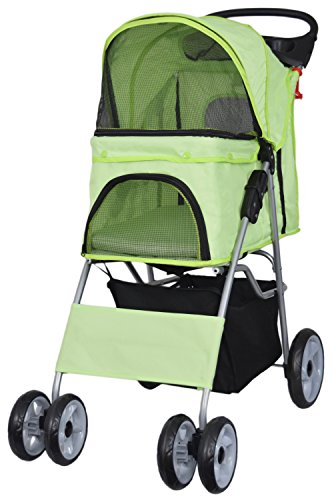 VIVO Four Wheel Pet Stroller, for Cat, Dog and More, Foldable Carrier Strolling Cart, Multiple Colors (Green)