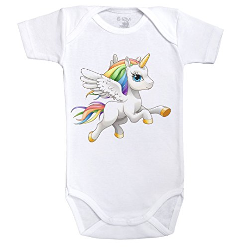 Bb-Licorne-Arc-en-Ciel-Body-Bb-manches-courtes-Coton-Blanc-Dragonsite-Fairysite-Parent
