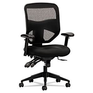 basyx by HON HVL532 Mesh High-Back 2-Way Arms Task Chair, Black