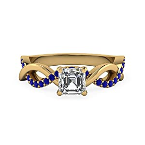 0.55 Ct Asscher Cut Diamond & Blue Sapphire Gemstone Engagement Ring 14K Gold GIA (D Color, VVS2 Clarity)