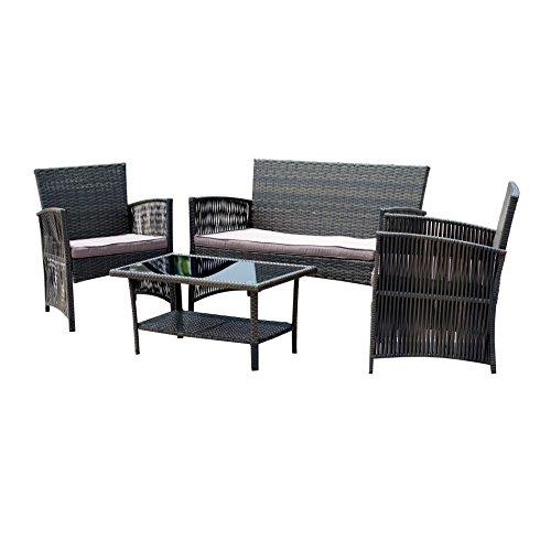 EBS 4 Piece Outdoor Garden Rattan Wicker Patio Furniture Set LoveSeat And Cha