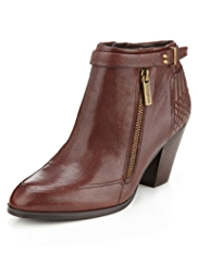 Autograph Leather Water Resistant Zip Biker Boots with Insolia®