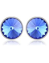 Mahi Rhodium Plated Bold Blue Earrings Made With Swarovski Elements For Women ER1104084RBlu