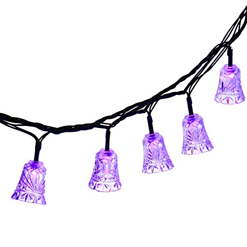 Qedertek 40 LED Bell Outdoor Solar String Lights, 24.6ft Decorative Lights Lighting for Christmas, Garden, Patio, Lawn, Wedding and Party Decorations (Purple)