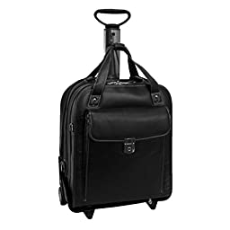 Siamod Pastenello Leather Vertical Detachable-Wheeled Laptop Briefcase Black