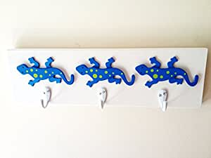 Boys tree lizard 3 wall hooks reptile room wall decor kids room decor - Kids decorative wall hooks ...