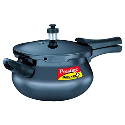 Prestige Deluxe Plus Mini Induction Base Hard Anodized Pressure Handis, 3.3 Litres, Black