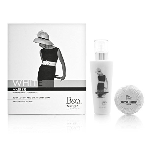 Bsq. Natural Couture White Amber 2 Piece Set Includes: 6.7 oz Body Lotion + 150g Shea Butter Soap by Berkeley Square Cosmetics Company