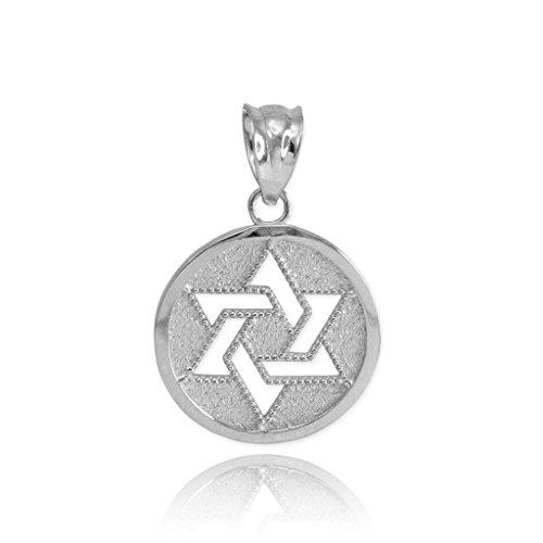 Fine 925 Sterling Silver Milgrain-Edged Medal Jewish Star of David Charm Pendant