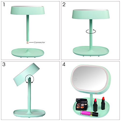 accmart 2 in 1 makeup mirror vanity mirror with led light and table lamp for bedroom bathroom. Black Bedroom Furniture Sets. Home Design Ideas