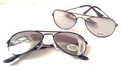 2 Pack Ages 3 - 8 Kids Gunmetal Costume Party Aviator Sunglasses Free Pilot Pins