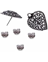 Silvesto India 2 Pcs Pear Shape Stud Earrings With 4 Pcs Jewelry Accessories PG-19894