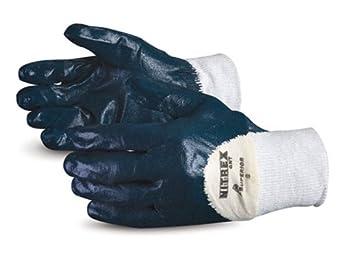 Superior GNT Nitrex Cotton Glove with 3/4 Nitrile Palm Coat, Work, Size 9, White (Pack of 1 Dozen)
