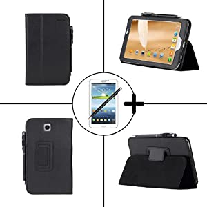 TeckNet Samsung Galaxy Tab 3 7.0 Leather Case Cover With Stand Included Screen Protector and Stylus Pen P3200 - Black